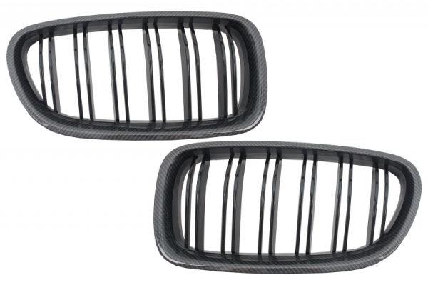 Parrilla rejilla delantera para BMW 5 Series F10 F11 (2010-up) Double Piano Negra Stripe M Design