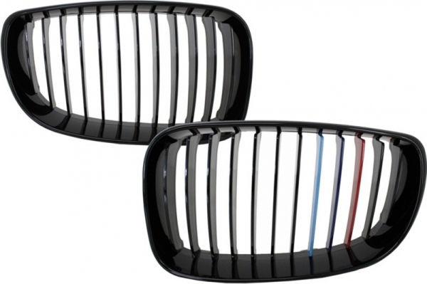 Parrilla rejilla delantera para BMW 1 Series E81 E82 E87 E88 M1 M (2007-2011) LCI M-Power 3 Color Design Piano Negra