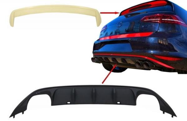 Difusor parachoques trasero deportivo + aleron de techo para VW Volkswagen Golf 7 VII (2013-2017) ABT Look