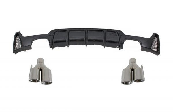 Difusor parachoques trasero deportivo + colas de escape Quads para Bmw F32 F33 F36 (2013-) Coupe Cabrio 4 Series M Performance Look negro