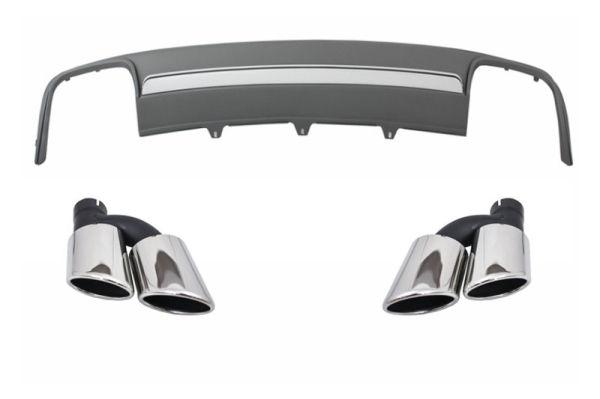 Difusor parachoques trasero deportivo + colas de escape para Audi A4 B8 Facelift (2012-2015) Limousine/Avant S4 Look