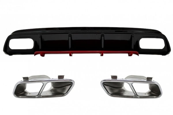 Difusor parachoques trasero deportivo + colas de escape para Mercedes W176 Clase A (2012-2018) A45 Facelift Look Edicion rojo