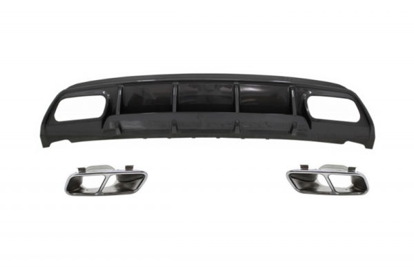 Difusor parachoques trasero deportivo + colas de escape para Mercedes W176 Clase A (2013-2018) A45 Facelift Look carbono Look