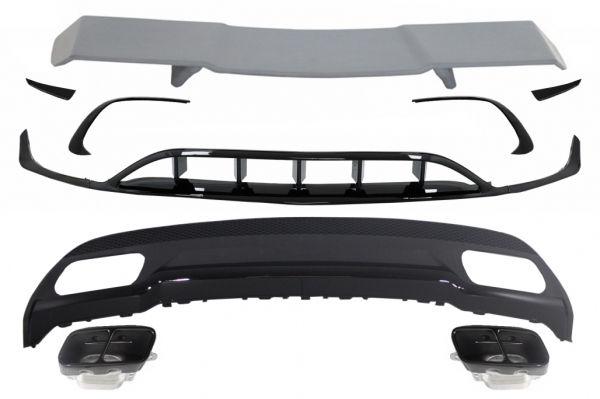 Difusor parachoques trasero deportivo + colas de escape + Splitters Fins Aero + Aleron para Mercedes Clase A W176 (2015-2018) Sport Pack All Black
