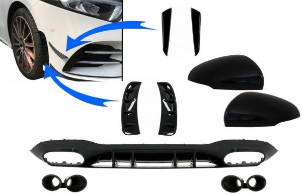 Difusor parachoques trasero deportivo + branquias + Cubreretrovisores para Mercedes Clase A V177 Sedan (2018->) + colas negras