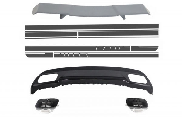 Difusor parachoques trasero deportivo + aleron + colas de escapes para Mercedes W176 Clase A 2012+ A-Look + pegatinas Vinyl Dark Grey