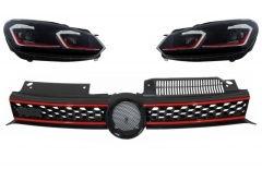 Parrilla rejilla delantera para VW Golf 6 VI (2008-2012) con focos delanteros con intermitentes dinamicos GTI Design