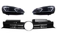Parrilla rejilla delantera para VW Golf VI (2008+)con focos delanteros con intermitentes dinamicos R20 Design