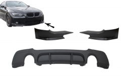 Difusor parachoques trasero deportivo + Splitters para Bmw E92 Coupe 3 Series (2006-2010) M Performance Look Twin Single Outlet