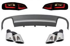 Difusor parachoques trasero deportivo + colas de escape + focos traseros LED dinamicos para Audi A4 B8 8K Pre Facelift Avant 2008-2011 S4 Look