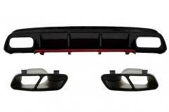 Difusor parachoques trasero deportivo + colas de escape para Mercedes W176 Clase A (2012-2018) A45 Facelift Look Red Edition