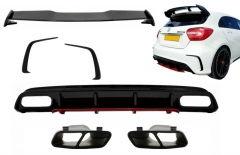 Difusor parachoques trasero deportivo + colas de escape negras + Splitters + Aleron para Mercedes Clase A W176 (2012-2018) A45 Facelift Look Edicion rojo
