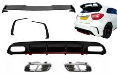 Difusor parachoques trasero deportivo + colas de escape + Splitters + Aleron para Mercedes Clase A W176 (2012-2018) A45 Facelift Look Edicion rojo