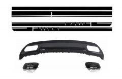 Difusor parachoques trasero deportivo + colas de escape para Mercedes W176 (2012->) Clase A with Side Decals Sticker Vinyl Matte Black