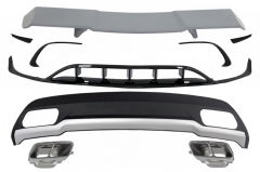 Difusor parachoques trasero deportivo + colas de escape + Front Splitters Fins Aero + Aleron para Mercedes Clase A W176 (2015-2018) Sport Pack