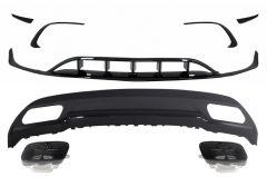 Difusor parachoques trasero deportivo + colas de escape + Splitters Fins Aero para Mercedes Clase A W176 (2015-2018) Sport Pack All Black