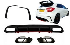 Difusor parachoques trasero deportivo + colas de escape negras+ Splitters Fins para Mercedes Clase A W176 (2012-2018) A45 Facelift Look Edicion rojo