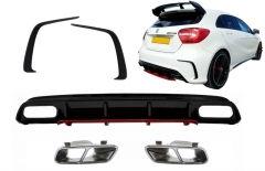 Difusor parachoques trasero deportivo + colas de escape cromadas + Splitters Fins para Mercedes Clase A W176 (2012-2018) A45 Facelift Look Edicion rojo