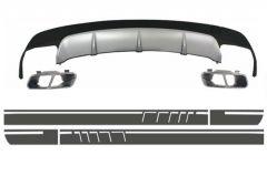 Difusor parachoques trasero deportivo + colas de escape + pegatinas Vinyl Dark Grey para Mercedes CLA W117 (2013-2016) Sport Pack