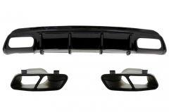 Difusor parachoques trasero deportivo + colas de escape negras para Mercedes Clase A W176 (2012-2015) A45 Facelift Look