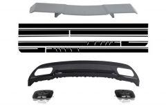 Difusor parachoques trasero deportivo + aleron + colas de escape para Mercedes W176 Clase A 2012+ A-Look + pegatinas A-Look Edition 1