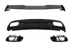 Difusor parachoques trasero deportivo para Mercedes W176 Clase A (2012-2018) + colas de escape and Roof Boot Lid Spoiler A45 Look Facelift NegroEdition